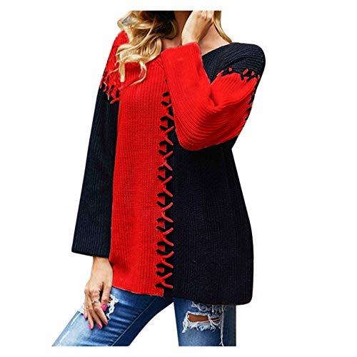 L9WEI@Jersey Suéteres de Empalme Suéteres Moda para Mujer Suéteres de Punto Cuello Redondo Jersey de Punto Suéter Elegante Túnica Suelta de Manga Larga Otoño Invierno Tops Casuales