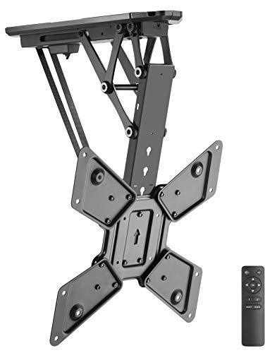TV Halter klappbarer motorisierter Deckenhalter mit Fernbedienung für TV und Flachbildschirme 23-55 Zoll (58 cm - 140 cm) VESA, schwarz
