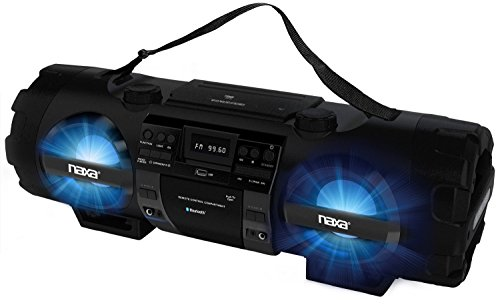 Naxa Bluetooth Portable Stereo Boombox with Cd Player & Digital AM/FM Radio Tuner & Mega Bass Reflex Stereo Sound System Plus 6ft Aux Cable to Connect Any Ipod, Iphone or Mp3 Digital Audio Player