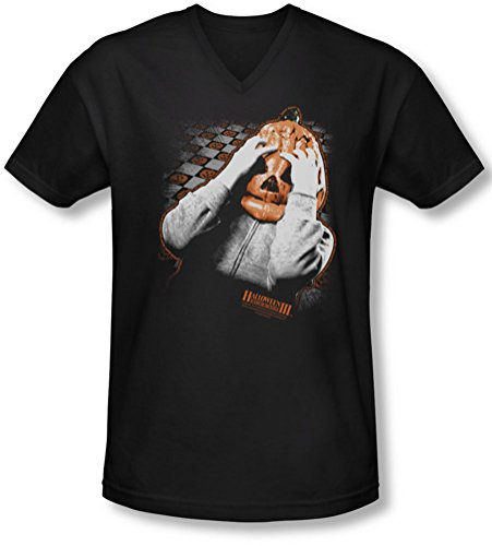 Halloween III - Halloween III - Herren Kürbis-Maske mit V-Ausschnitt T-Shirt, XX-Large, Black