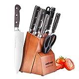 Ankway Juego de Cuchillos de Cocina Profesional, 8 Piezas Cuchillos de Cocina con bloque de madera Hecho de Acero Alemán X50Cr15 Incluye Afilador de Cuchillos Tijeras (Plata)