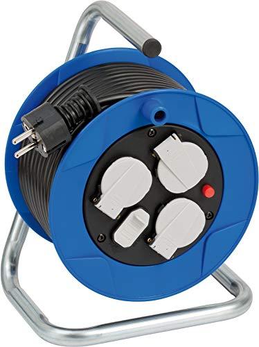Brennenstuhl Garant Kompakt Kabeltrommel 3-fach mit USB für den Innenbereich (Indoor-Kabeltrommel mit USB-Ladefunktion und 15m Kabel, Made in Germany) blau