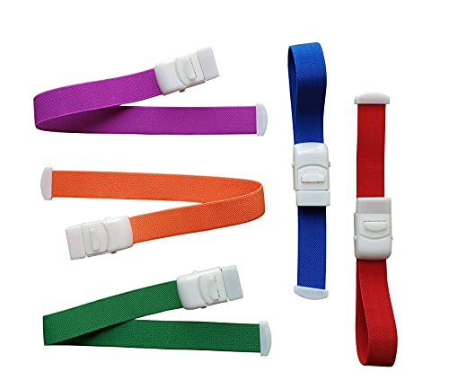 Yinch 5 Pack Tourniquet Elastic First Aid Emergency Medical Buckle Quick Release Band Professional Hemostatic Blood Tourniquet for Home Outdoor Sport Camping Workplace Hiking & Survival(Colorful)