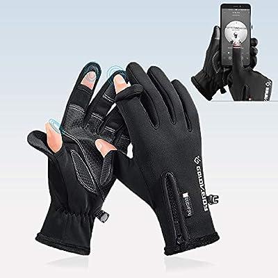 HITNEXT Bicycle Gloves, Mountain Bike Motorcycle ski Touch Screen Gloves, 2-Fingerless Winter Workout Biking Gloves for Men Womens