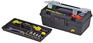 Plano 114-002 13-Inch Compact Tool Box, Graphite Gray with Black Handle and Latches