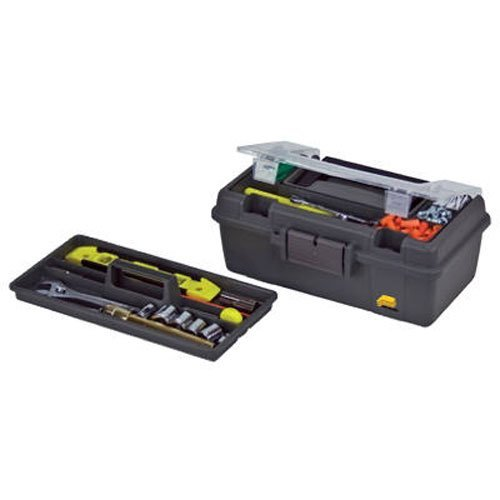 Plano 114002 13Inch Compact Tool Box Graphite Gray with Black Handle and Latches