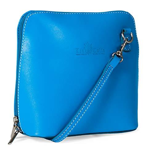 LIATALIA Kleine Lederumhängetasche im echtes italienisches Leder liefert mit Schutzbeutel - ABBY - (z** - Himmelblau)