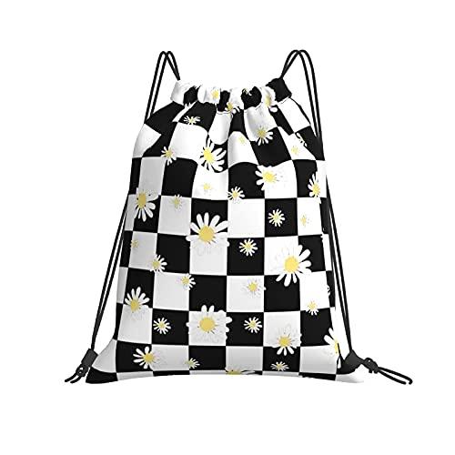 Hokdny Bolsa de Gimnasia, Bolsa de Viaje Para Yoga En La Playa, Mochila de Gimnasio Para Equipo de Entrenamiento de Viaje para Acampar en la Playa (Tablero de ajedrez blanco negro)-42 × 36cm