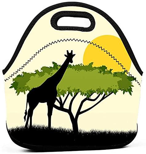 Borsa per il pranzo per bambini, con albero di acacia e giraffa, borsoni per il pranzo per ragazze, per adulti, piccole donne, per il pranzo o per il campeggio e i viaggi
