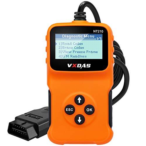 VXDAS NT210 OBD2 Escáner Herramienta de escaneo de diagnóstico del automóvil Compruebe la luz del motor Lector universal de códigos OBDII, Comprobación de smog del automóvil después de 1996