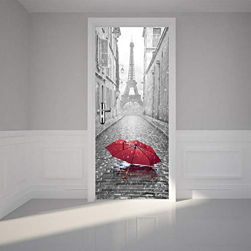 BXZGDJY 3D Türaufkleber Schlafzimmer Türen Renovierung Wasserdichte Tür Aufkleber Einfache Wohnzimmer Wandaufkleber Tapetensticker Fensterbild Wandaufkleber80X200Cm Roter Regenschirm
