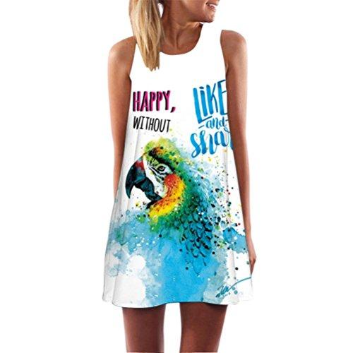 MRULIC Kleid Damen Sommerkleid Freizeitkleid Shirtkleid T-Shirt Bluse Tunika Ärmellos Locker Kleider Frauen Lose Sommer Weinlese Blumendruck Kurzschluss 3D Bild Minikleid Gerades Kleid