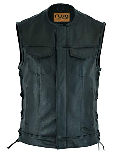 Ruja Gilet da uomo in vera pelle stile SOA con tasche per pistola (con lacci laterali) (S)