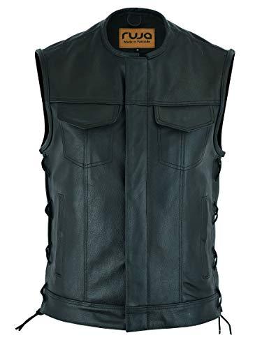 Ruja Gilet da uomo in vera pelle stile SOA con tasche per pistola (con lacci laterali) (2XL)