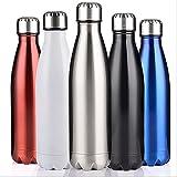 LIXIAONMKOP Home Tools 500ml a Doppia Parete sottovuoto boccetta in Acciaio Inox Bottiglia d'Acqua BPA termos Gratuita per Bottiglie d'Acqua Sportiva Regalo di Natale (Color : White)