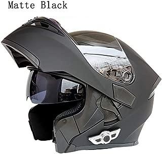 MOPHOTO Bluetooth Integrated Motorcycle Helmets, Anti-Glare Full Face Flip up Dual Visors Modular Bike Motorcross Helmets Intercom Helmet/Rider to Rider, Matte Black Large (59-60cm)