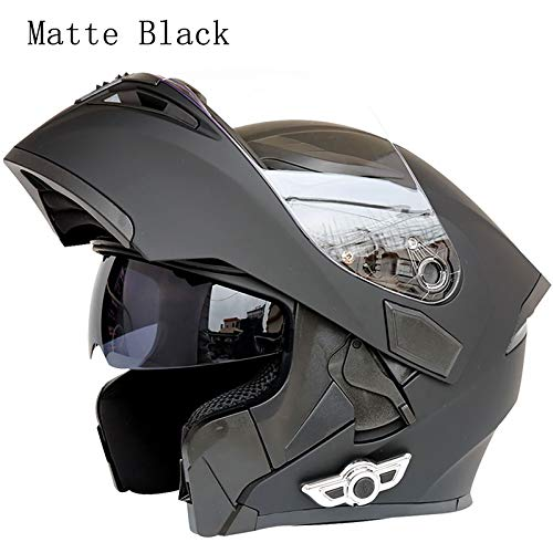 MOPHOTO Bluetooth Integrated Motorcycle Helmets, Anti-Glare Full Face Flip up Dual Visors Modular Bike Motorcross Helmets Intercom Helmet/Rider to Rider, Matte Black Large (59-60cm)