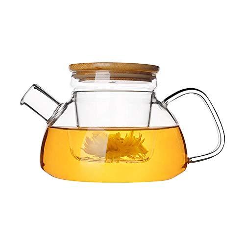 Teapot Hitzebeständige Glas Teekanne Bambus Deckelfilter Zwischenlage Kessel Stilvolle Blumen Teekanne