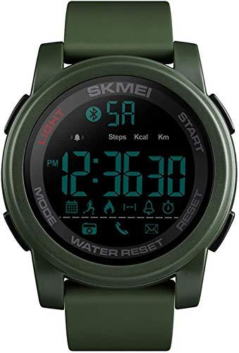 Deportes al aire libre multifunción reloj ejercicio contador de pasos recordatorio de llamada Bluetooth enlace EL retroiluminación 12/24 horas reloj regalo para la familia Blue-ArmyGreen