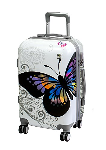 A2S Cabin Luggage Lightweight & Durable Hard Shell Printed Suitcase with 8 Spinner Wheels Carry on Bag (Airplanes) 55x35x22cm (White Butterfly)