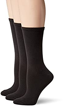 Hanes Women s ComfortSoft Crew Socks 3-Pack Black Shoe Size  5-9
