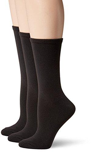 Hanes Women's ComfortSoft Crew Socks 3-Pack, Black, Shoe Size: 5-9