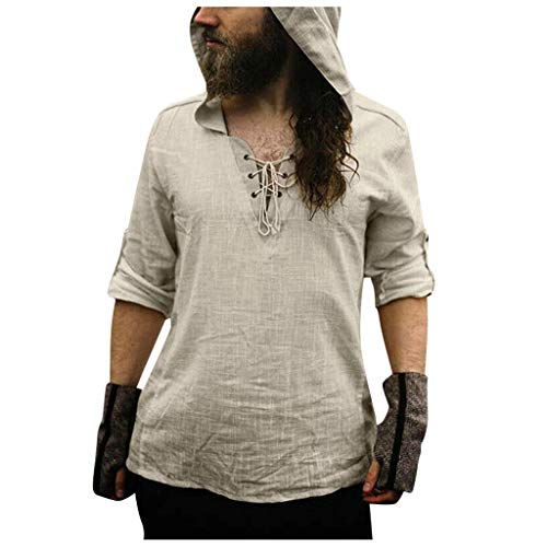 Homme Chemise en Lin Manches Longues Slim Fit Sexy Col V Manches Longues Hoodie Shirt Tops Mode Casual Plage Chemise Confortable Respirant