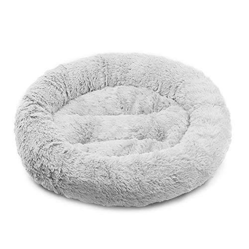Dracol Nido redondo para mascotas donut nido suave y cálido, cama lavable para mascotas otoño e invierno gris 55 x 55 cm