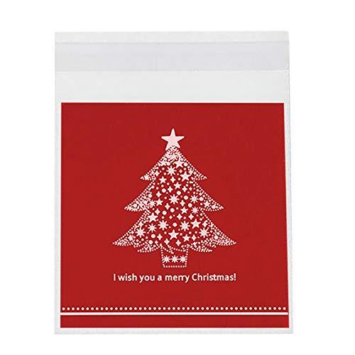 100pcs Bolsa de Embalaje con Estampado de árbol de Navidad Hogar y jardín Cocina, Comedor y Bar
