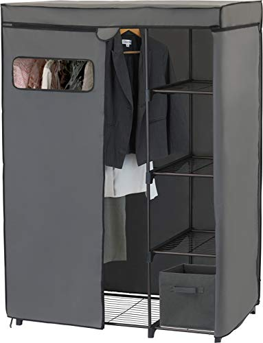 Simple Houseware Freestanding Cloths Garment Organizer Closet with Cover Dark Gray
