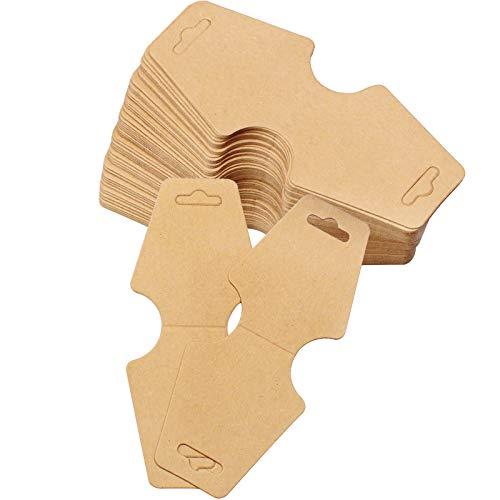 YunBey 100 Piezas Tarjetas de Exhibición Collar Papel Kraft Tarjetas de Pendientes Etiquetas para Pendiente para Exhibir Joyas como Collares, Aretes(Marrón)