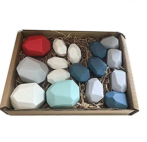 Equilibrio de madera apilado piedras juguetes bloques de construcción juguetes de piedra coloreados