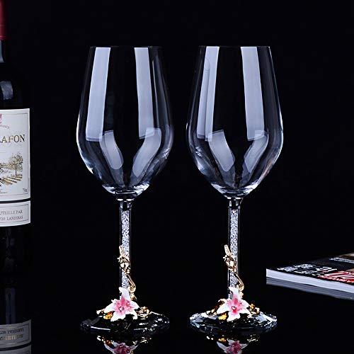 Jiu Verres à vin rouge, 2 pièces, 350 ML, sans plomb transparent Verre à vin rouge en verre, parfait for la maison, les restaurants et les Parties Jiu (Color : Pink, Size : Without gift box)