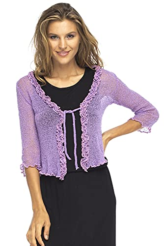 Back From Bali Womens Sheer Shrug Cardigan Sweater Ruffle Lightweight Knit Lavender One Size