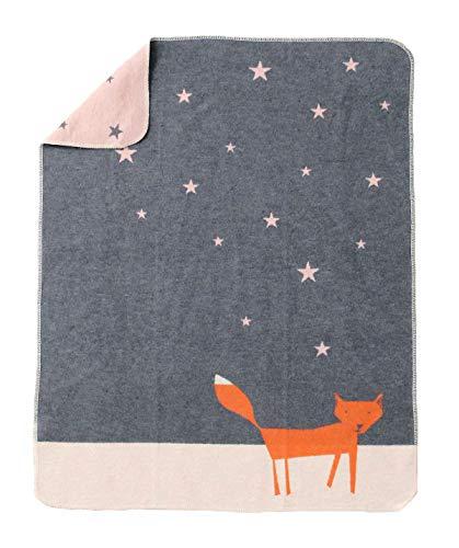 David Fussenegger - Babydecke JUWEL - Fuchs unter Sternen - grau - 70 x 90 cm
