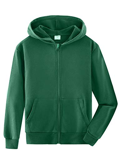 Spring&Gege Youth Solid Full Zipper Hoodies Soft Kids Hooded Sweatshirt for Boys and Girls Size 9-10 Years Dark Green