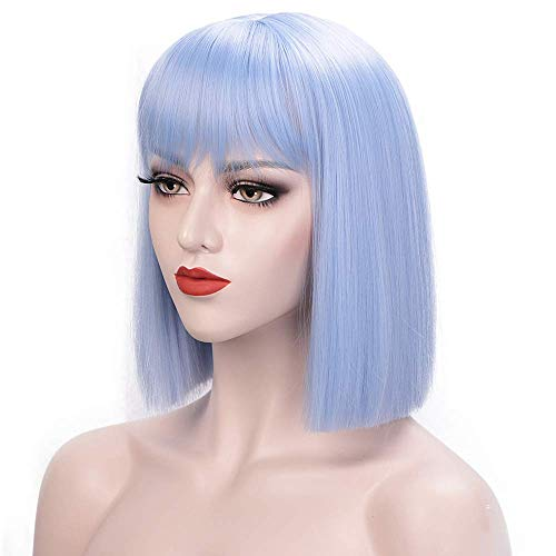ENTRANCED STYLES Light Blue Wig Short Bob Wigs with Straight Flat Bangs for Women Synthetic Christmas Cosplay Party Daily Use Wig