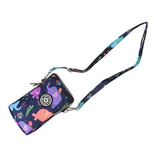 FENICAL bolso del teléfono con cremallera bolso con estampado de flores bolso de hombro de moda bolso del teléfono móvil para mujer bolsos colgantes para compras en viajes (elefante colorido) ⭐