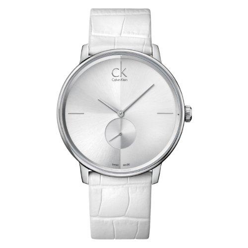 Calvin Klein CK Accent K2Y211K6 - Reloj analógico de Cuarzo para Hombre, Correa de Cuero Color Blanco
