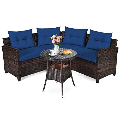 Happygrill 4PCS Patio Furniture Set Outdoor Rattan Wicker Conversation Set with Sofa Cushioned Sofas and Coffee Table, L-Shape Sectional Curved Sofa Set for Garden Poolside Balcony