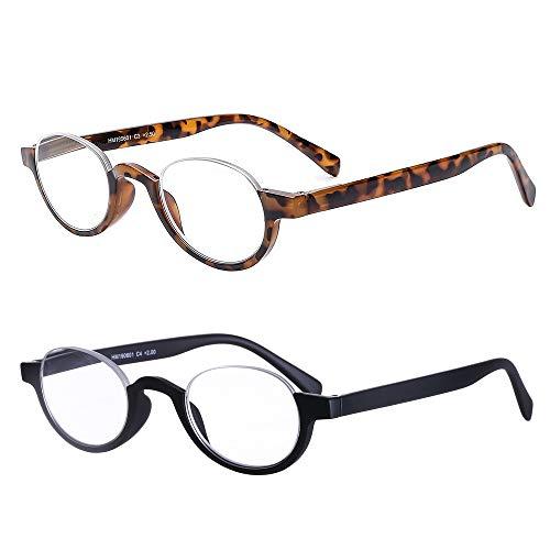 AMILLLET 2 Paar Halber Rahmen Lesebrille +1.5 Dioptrien für Damen und Herren/Federscharnier und Halbmond klare Linse, superleichte Brille für Lesen,Farbmischung