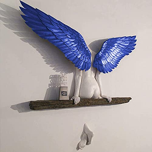 Heroicn Icarus Had A Sister Angel Wings Art Sculpture Wall Decoration 3D Statue for Living Room Bedroom Decoration, Minimalist Wall Decor Crafts (Color : Blue, Size : 30CM)