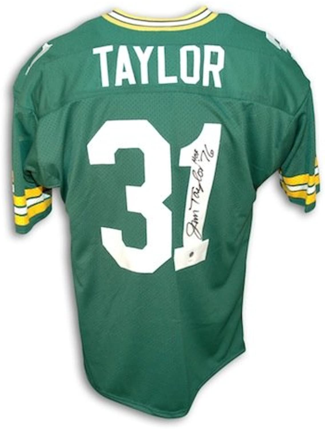 Autographed Jim Taylor Green Bay Packers Green Throwback Jersey Inscribed HOF 76
