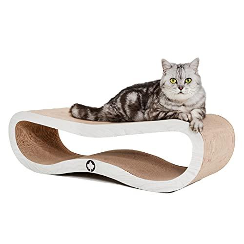 CanadianCat Company ® | Kratzbrett Orbit | weiße Holzoptik | Kratzmöbel, Lounge für Katzen | Kratzpappe + Katzenminze | ca. 84 x 24 x 23cm