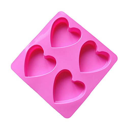 4 Cavity Samzary Love Cake Mold Silicone Cupcake Mold DIY Handmade Soap Cake Mould Pop Cupcake Baking Mold for Cakes Pudding Chocolate and so forth