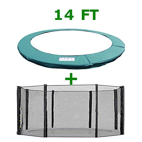 Greenbay Trampoline Replacement Safety Spring Cover Padding Pad + Safety Net Enclosure Surround Outside Netting 14 FT Foot Green