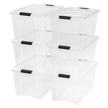 IRIS 53 Quart Stack & Pull Box, 6 Pack, Clear