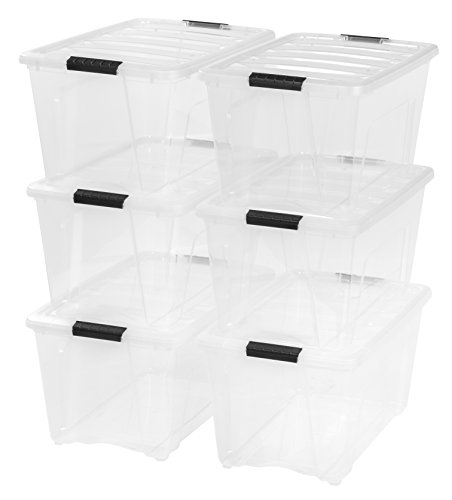 IRIS USA TB Clear Plastic Storage Bin Tote Organizing Container with Durable Lid and Secure Latching Buckles, 53 Qt, 6 Count