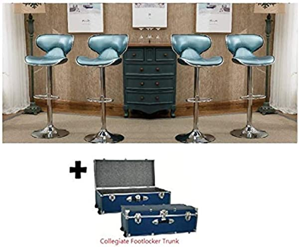 Roundhill Furniture Masaccio Cushioned Leatherette Upholstery Airlift Swivel Barstool Blue Set Of 4 Exclusive Freebies
