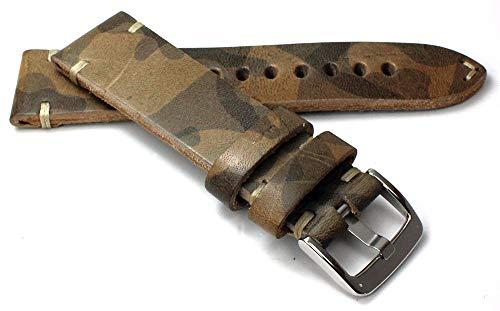 22 mm RIOS1931 Duits handwerk lederen band witte naad retro look camouflage grijs camouflagekleur
